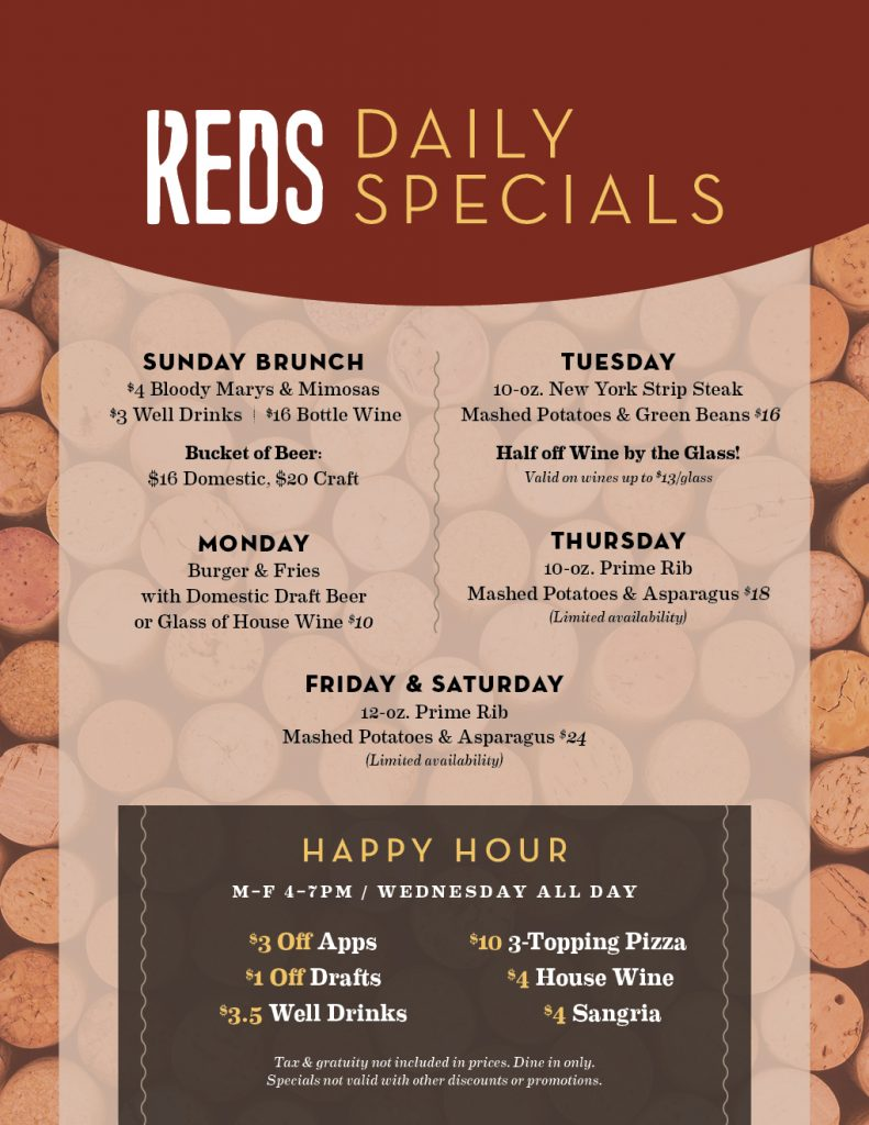 Food & drink specials at Reds every day of the week