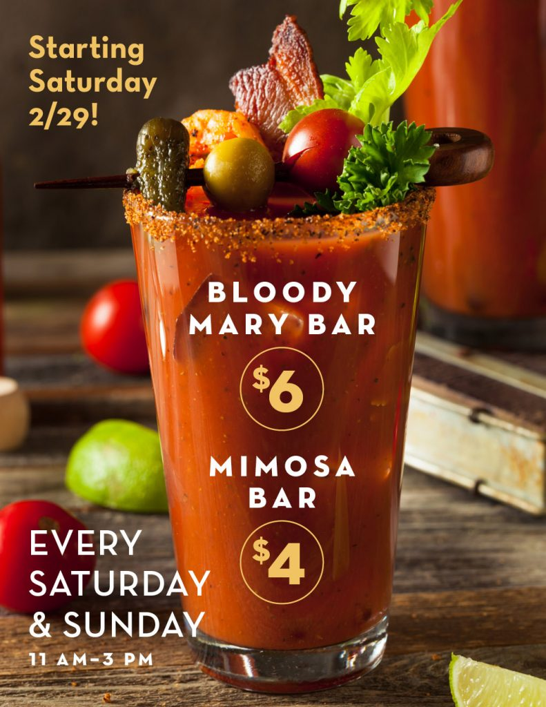 reds bloody mary and mimosa bar every weekend