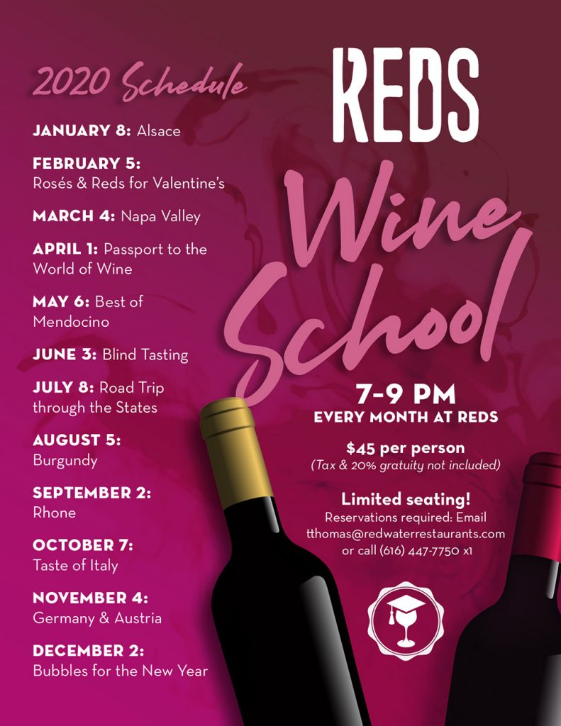 2020 monthly schedule for Wine School at Reds
