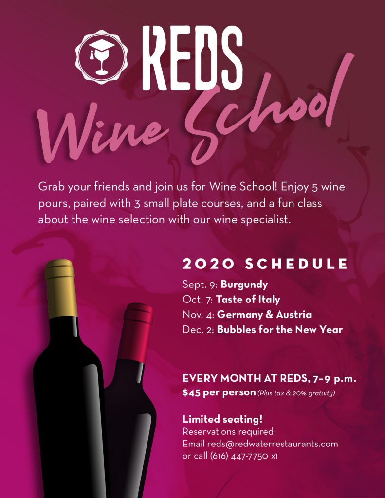 2020 fall schedule for Wine School at Reds